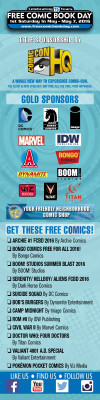free comic book day FCBD sponsors comic list infographic